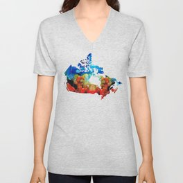 Canada - Canadian Map By Sharon Cummings Unisex V-Neck