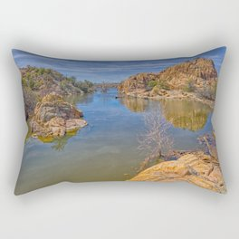 Low angle view of the Secret Cove on the east side of Watson Lake in Prescott AZ. Rectangular Pillow