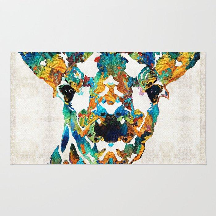 Colorful Giraffe Art - Curious - By Sharon Cummings Rug
