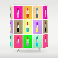 lipstick Shower Curtains featuring Lipstick by Scout Garbaczewski