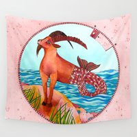 capricorn Wall Tapestries featuring Capricorn by Sandra Nascimento