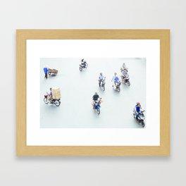 Traffic from above in Hanoi, Vietnam Framed Art Print