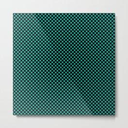Black and Pool Green Polka Dots Metal Print
