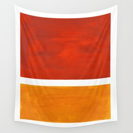 Burnt Orange Yellow Ochre Mid Century Modern Abstract Minimalist Rothko Color Field Squares Wall Tapestry