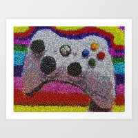 xbox Art Prints featuring XBOX 360 Video Game Controller M&Ms Candy mosaic by Paul Van Scott