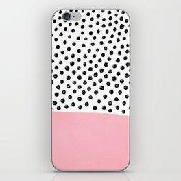 Pink Black Dalmation Polka Dots iPhone Skin