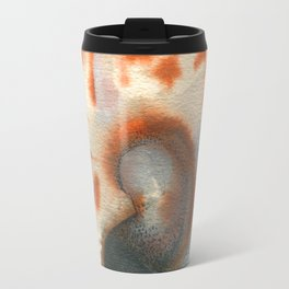 Painted Feather with Tiger Striped Shell Travel Mug