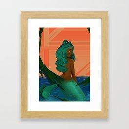 Peeking Mermaid Framed Art Print