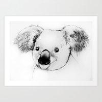 koala Art Prints featuring koala by Кaterina Кalinich