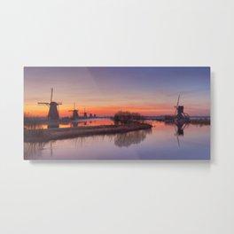 I - Traditional windmills at sunrise, Kinderdijk, The Netherlands Metal Print