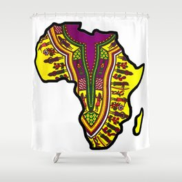 Purple Dashiki Africa Map Shower Curtain
