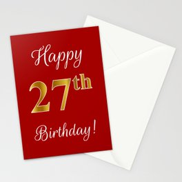"""Elegant """"Happy 27th Birthday!"""" With Faux/Imitation Gold-Inspired Color Pattern Number (on Red) Stationery Cards"""