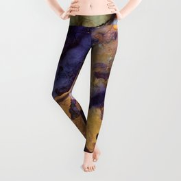 Purple and Gold Abstract Leggings