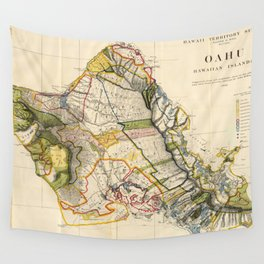 Vintage Map of Oahu Hawaii (1906) Wall Tapestry