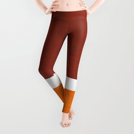 Burnt Sienna Yellow Ochre Rothko Minimalist Mid Century Abstract Color Field Squares Leggings