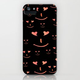 face, laugh, smile, heart, mouth, eyes, black, red, pink, spirit iPhone Case