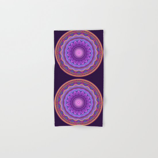 Colourful mandala with waves and tribal patterns Hand & Bath Towel