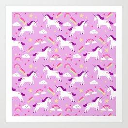 Unicorns happy clouds rainbows magical pony pattern pink pastels Art Print