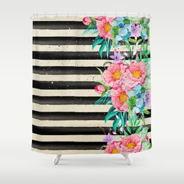 Modern stripes and tropical flowers hand paint Shower Curtain