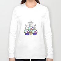 polkadot Long Sleeve T-shirts featuring Cute Monster With Pink And Blue Polkadot Cupcakes by Mydeas
