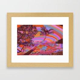 Sunny beach and sea with palmtree Framed Art Print