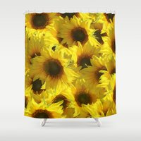 sunflowers Shower Curtains featuring Sunflowers by LLL Creations