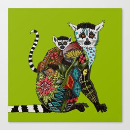 ring tailed lemur love lime Canvas Print