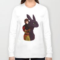 hiccup Long Sleeve T-shirts featuring Hiccup and Toothless by tsunami-sand
