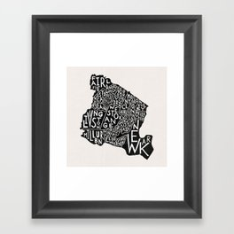 Essex County Map Framed Art Print