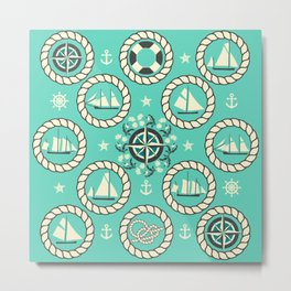 Blue Nautical Print with ships, compass, anchor and nautical knots Metal Print