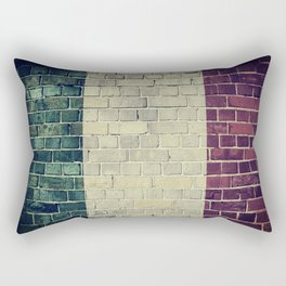 Vintage Italy flag on a brick wall Rectangular Pillow