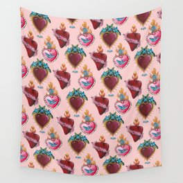 Sacred Hearts on pink  Wall Tapestry