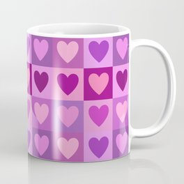 Hearts 3x3 Pinks Purples Mauves Coffee Mug