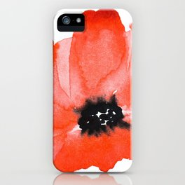 Red Poppy Watercolour iPhone Case