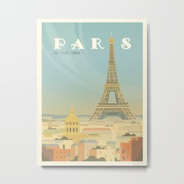 Paris France Eiffel Tower Vintage Travel Poster Commercial Air Travel Metal Print