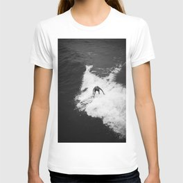 Black and White Wave Surfer T-shirt