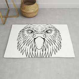 Kakapo Owl Parrot Head Drawing Black and White Rug