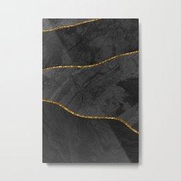Organic Marbled Pattern Black Metal Print