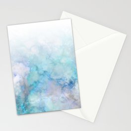 Fresh Blue and Aqua Ombre Frozen Marble Stationery Cards