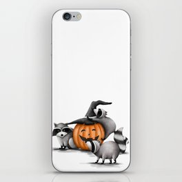 Raccoons and Jack-O-Lanterns iPhone Skin