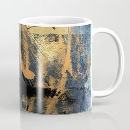 Melody: a vibrant, colorful abstract piece in blue, purple, gold, and black Coffee Mug