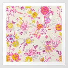 Flower garden in pink and yellow Art Print