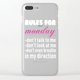 Rule for Monday Funny Graphic T-shirt Clear iPhone Case
