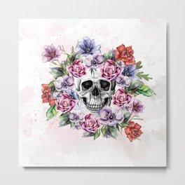 Skull & Flower Metal Print