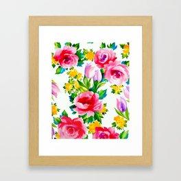 Watercolor Roses Framed Art Print