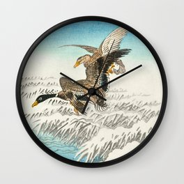 Ducks flying over a snowy field - Vintage Japanese woodblock print Wall Clock