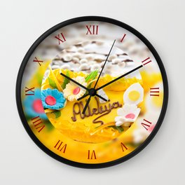 Catkins and yellow Easter cake Wall Clock