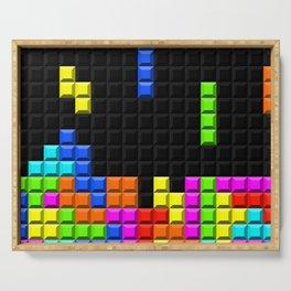 Retro Video Game Blocks Pattern Serving Tray