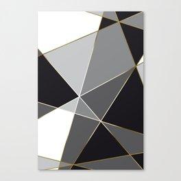 Fragments Black White Gold Canvas Print