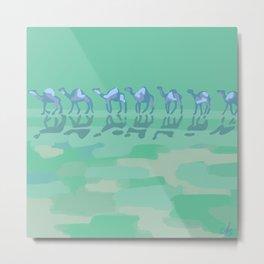 Camel Caravan Abstract Aqua Blue Metal Print